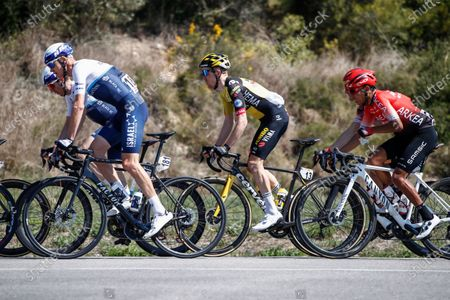 Stock Photo of 181 Chris Froome from Great Britain of Israel Start Up Nation and 201 Nairo Quintana from Colombia of Team Arkea - Samsic action, during the 100th Volta Ciclista a Catalunya 2021, Stage 3 from Canal Olimpic de Barcelona to Valter 2000. On March 24, 2021 in Barcelona, Spain.