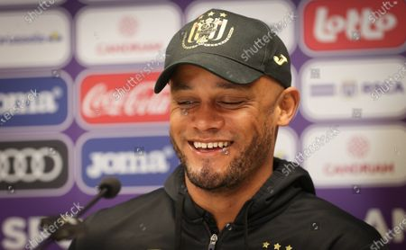 Anderlecht's head coach Vincent Kompany pictured during a press conference of Belgian soccer team RSC Anderlecht in Brussels, Friday 02 April 2021, ahead of their upcoming game on day 32 of the 'Jupiler Pro League' Belgian soccer championship.