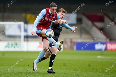 Stock Image of Scunthorpe United Ryan Loft (9) controls the ball during the EFL Sky Bet League 2 match between Scunthorpe United and Crawley Town at the Sands Venue Stadium, Scunthorpe
