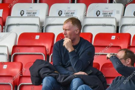 Stock Image of Paul Scholes  watching during the EFL Sky Bet League 2 match between Salford City and Grimsby Town FC at the Peninsula Stadium, Salford