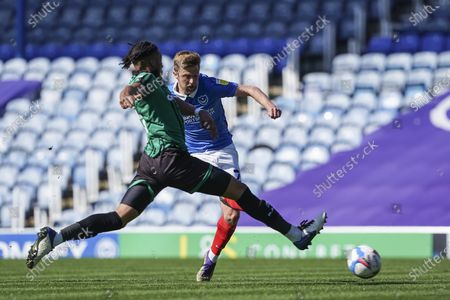 Stock Picture of Michael Jacobs of Portsmouth shoots during the EFL Sky Bet League 1 match between Portsmouth and Rochdale at Fratton Park, Portsmouth