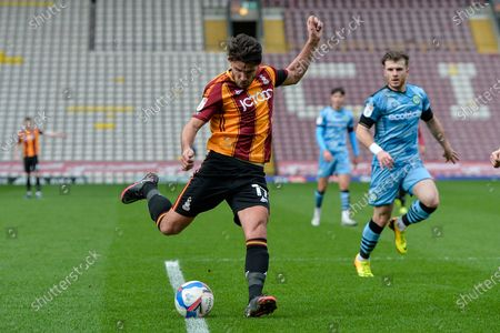 Gareth Evans Cross during the EFL Sky Bet League 2 match between Bradford City and Forest Green Rovers at the Utilita Energy Stadium, Bradford