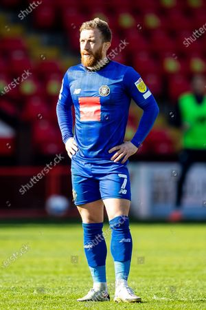 George Thomson  of Harrogate Town portrait during the EFL Sky Bet League 2 match between Walsall and Harrogate Town at the Banks's Stadium, Walsall
