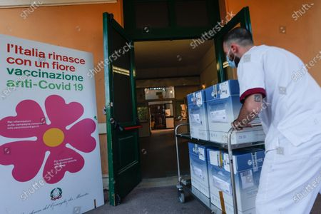 AstraZeneca doses of Covid-19 vaccines are delivered at the Roma 1 local health authority headquarters, in Rome, Italy, 02 April 2021. Regional Affairs Minister Mariastella Gelmini said on 02 April that Italy set a new record of over 300,000 COVID-19 vaccinations on 01 April.