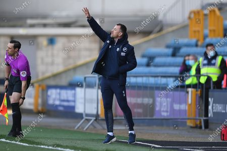 Millwall Manager Gary Rowett pointing, directing, signalling, gesture in the technical area during the EFL Sky Bet Championship match between Millwall and Rotherham United at The Den, London