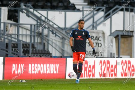 Luton Town midfielder Thomas Ince (39) in action during the EFL Sky Bet Championship match between Derby County and Luton Town at the Pride Park, Derby