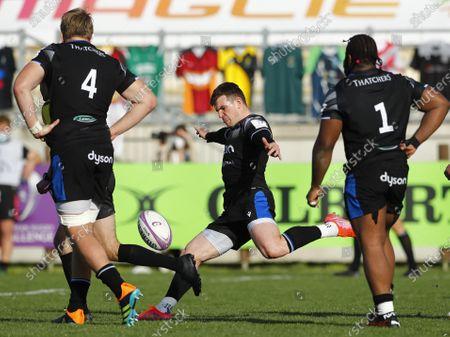 Zebre vs Bath Rugby. Ben Spencer of Bath kicks