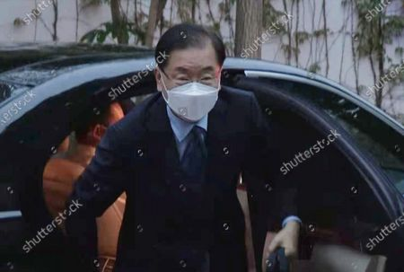 South Korean Foreign Minister Chung Eui-yong arrives at a hotel in Xiamen, China, 02 April 2021, one day before his talks with his Chinese counterpart, Wang Yi, to discuss bilateral ties, the Korean Peninsula situation and regional and global issues.
