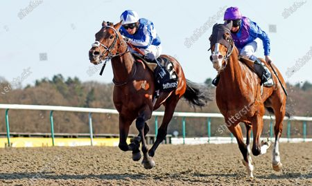 Bangkok (left, Silvestre de Sousa) beats Palavecino (right) in The Betway Easter Classic All-Weather Middle Distance Championships Conditions Stakes Lingfield