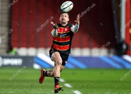 Gloucester vs La Rochelle. Gloucester's Jonny May misses a catch