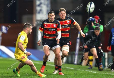 Gloucester vs La Rochelle. Gloucester's Jonny May kicks the ball out of play