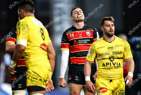 Gloucester vs La Rochelle. Gloucester's Jonny May reacts after kicking the ball out of play