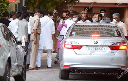 A BJP delegation comprising Union Ministers Prakash Javadekar, Mukhtar Abbas Naqvi, BJP National General Secretary Bhupender Yadav, BJP National Media In-charge Anil Baluni and  Om Pathak leaves after meeting with the Election Commission of India (ECI) at Nirvachan Sadan, on April 2, 2021 in New Delhi, India. BJP delegation demand action against West Bengal chief minister Mamata Banerjee and DMK leader Udhayanidhi Stalin for his remarks against late BJP leaders Sushma Swaraj and Arun Jaitley.