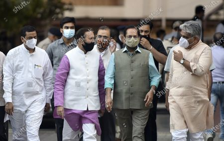 Stock Photo of A BJP delegation comprising Union Ministers Prakash Javadekar, Mukhtar Abbas Naqvi, BJP National General Secretary Bhupender Yadav, BJP National Media In-charge Anil Baluni and  Om Pathak leaves after meeting with the Election Commission of India (ECI) at Nirvachan Sadan, on April 2, 2021 in New Delhi, India. BJP delegation demand action against West Bengal chief minister Mamata Banerjee and DMK leader Udhayanidhi Stalin for his remarks against late BJP leaders Sushma Swaraj and Arun Jaitley.