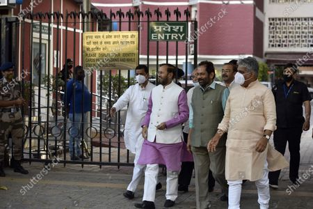 Stock Picture of A BJP delegation comprising Union Ministers Prakash Javadekar, Mukhtar Abbas Naqvi, BJP National General Secretary Bhupender Yadav, BJP National Media In-charge Anil Baluni and  Om Pathak leaves after meeting with the Election Commission of India (ECI) at Nirvachan Sadan, on April 2, 2021 in New Delhi, India. BJP delegation demand action against West Bengal chief minister Mamata Banerjee and DMK leader Udhayanidhi Stalin for his remarks against late BJP leaders Sushma Swaraj and Arun Jaitley.