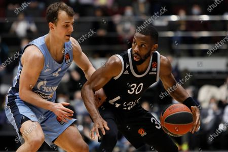 Stock Picture of Kevin Pangos (L) of Zenit St Petersburg and Norris Cole of LDLC ASVEL Villeurbanne in action during the EuroLeague Basketball match between Zenit St. Petersburg and LDLC ASVEL Villeurbanne on April 2, 2021 at Sibur Arena in Saint Petersburg, Russia.