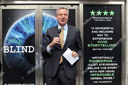 Editorial picture of Bill de Blasio attends the opening of 'Blindness', New York, USA - 02 Apr 2021