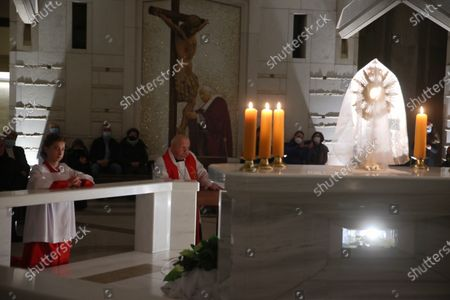 Cardinal Stanislaw Dziwisz (C) during the evening prayer at the Shrine of St. John Paul II in Krakow, Poland, 02 April 2021 on the 16th anniversary of the death of the Polish Pope.