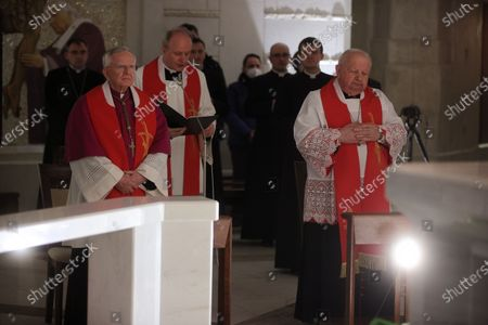Archbishop of Krakow Marek Jedraszewski (L) and cardinal Stanislaw Dziwisz (R) during the evening prayer at the Shrine of St. John Paul II in Krakow, Poland, 02 April 2021 on the 16th anniversary of the death of the Polish Pope.