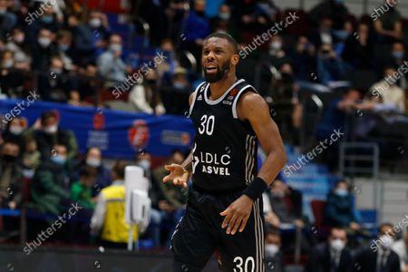 Norris Cole (30) of ASVEL Villeurbanne in action during the 2020/2021 Turkish Airlines EuroLeague Regular Season Round 33, match between BC ASVEL Villeurbanne and Zenit St. Petersburg at the Sibur Arena.(Final score; Zenit St. Petersburg 87:53 ASVEL Villeurbanne)