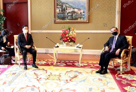 South Korean Foreign Minister Chung Eui-yong (L) holds talks with his Chinese counterpart Wang Yi (R) in Xiamen, China, 03 April 2021. Chung is visiting China to discuss bilateral ties, the Korean Peninsula situation and regional and global issues.