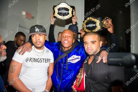 Stock Picture of Young Steff, Yahya McClain, and Raz B attend the Celebrity Championship Boxing dinner at Sugar Factory Atlanta.