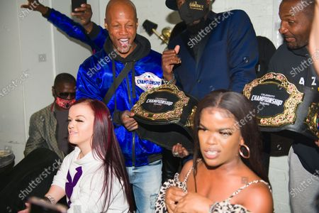 Left Cheek, Zab Judah, and Abira attend the Celebrity Championship Boxing dinner at Sugar Factory Atlanta.