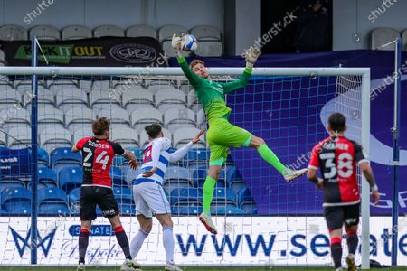 QPRs Joe Lumley gathers a cross during the Sky Bet Championship match between Queens Park Rangers and Coventry City at Kiyan Prince Foundation Stadium, London on Friday 2nd April 2021.