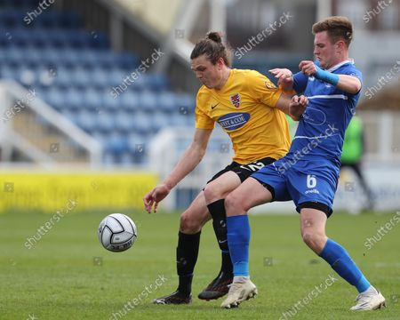 Matt Robinson of Dagenham in action with Mark Shelton of Hartlepool United during the Vanarama National League match between Hartlepool United and Dagenham and Redbridge at Victoria Park, Hartlepool on Friday 2nd April 2021.