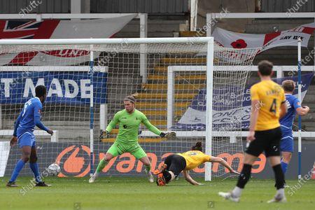 : Dagenham's  Matt Robinson heads Dagenham's goal to level the score at 1-1  during the Vanarama National League match etween Hartlepool United and Dagenham and Redbridge at Victoria Park, Hartlepool on Friday 2nd April 2021.