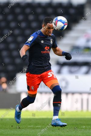 Thomas Ince of Luton Town in action during the Sky Bet Championship match between Derby County and Luton Town at the Pride Park, Derby on Friday 2nd April 2021.