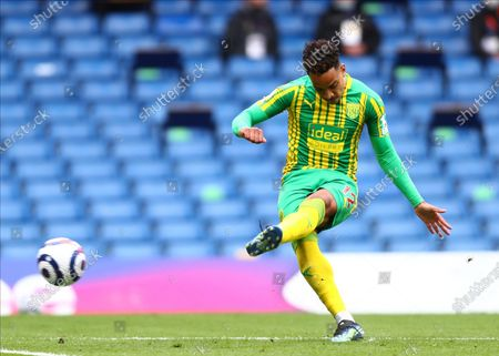 West Bromwich Albion's Matheus Pereira takes a free kick during the English Premier League soccer match between Chelsea and West Bromwich Albion at Stamford Bridge stadium in London, England