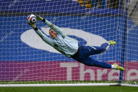 Goalkeeper Kepa Arrizabalaga of Chelsea warms up ahead of the English Premier League soccer match between Chelsea FC and West Bromwich Albion in London, Britain, 03 April 2021.