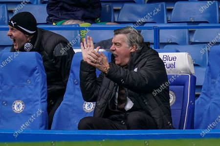 West Bromwich Albion manager Sam Allardyce reacts after Matheus Pereira's goal during the English Premier League soccer match between Chelsea FC and West Bromwich Albion in London, Britain, 03 April 2021.