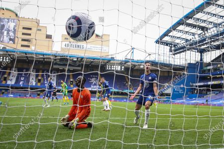 Stock Photo of Goalkeeper Edouard Mendy (L) and Cesar Azpilicueta (R) of Chelsea react after a conceding a goal from Matheus Pereira (not pictured) of West Bromwich during the English Premier League soccer match between Chelsea FC and West Bromwich Albion in London, Britain, 03 April 2021.