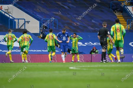 Stock Picture of Matheus Pereira (C-R) of West Bromwich reacts after scoring a goal during the English Premier League soccer match between Chelsea FC and West Bromwich Albion in London, Britain, 03 April 2021.