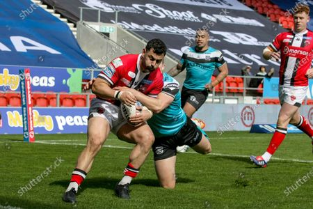 Rhys Williams during the Betfred Super League match between Salford Red Devils and Hull FC at Totally Wicked Stadium, St Helens