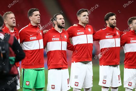 Wojciech Szczesny, Grzegorz Krychowiak, Jan Bednarek and Bartosz Bereszynski of Poland