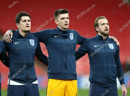 Harry Maguire, Nick Pope and Harry Kane of England