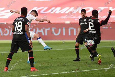 Klaas-Jan Huntelaar of FC Schalke 04 scores their team's first goal during the Bundesliga match between Bayer 04 Leverkusen and FC Schalke 04 at BayArena on in Leverkusen, Germany, 03 April 2021.