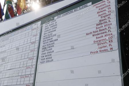 Names of past champions not playing in the 2021 Masters including Tiger Woods, shortly after Tsubasa Kajitani of Japan won on the first playoff hole during the final round of the Augusta National Women's Amateur at the Augusta National Golf Club in Augusta, Georgia, USA, 03 April 2021. The 2021 Masters Tournament will be held 08 April through 11 April 2021.