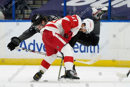 Detroit Red Wings center Frans Nielsen (81) knocks down Tampa Bay Lightning defenseman Mikhail Sergachev (98) during the first period of an NHL hockey game, in Tampa, Fla