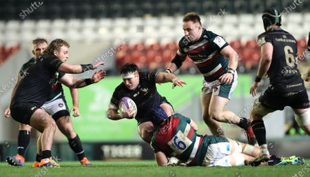 Leicester Tigers vs Connacht. Connacht's Denis Buckley and George Martin of Leicester