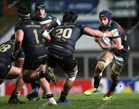 Leicester Tigers vs Connacht. Leicester's George Martin