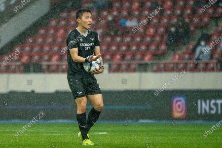 Lee Si-Young of Seongnam FC reacts during the K League 1 match between Seongnam FC and Ulsan Hyundai at the Tancheon Stadium in Seongnam, South Korea, 03 April 2021.