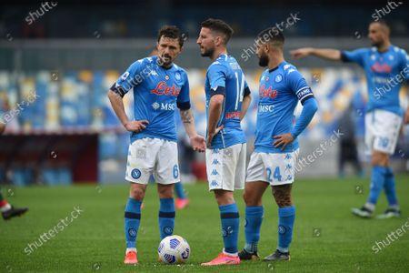 Dries Mertens, Mario Rui,Lorenzo Insigne of SSC Napoli during the Serie A match between SSC Napoli and FC Crotone at Stadio Diego Armando Maradona Naples Italy on 3 April 2021.