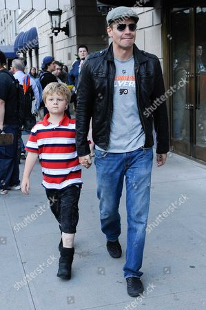 Stock Picture of David Boreanaz and his son Jaden Rayne Boreanaz