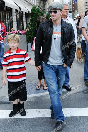 Stock Image of David Boreanaz and his son Jaden Rayne Boreanaz