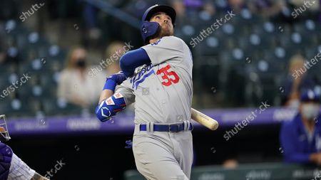 Los Angeles Dodgers center fielder Cody Bellinger (35) in the second inning of a baseball game, in Denver