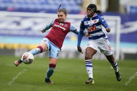 Cecilie Redisch (#2 West Ham United) challenges Danielle Carter (#18 Reading)